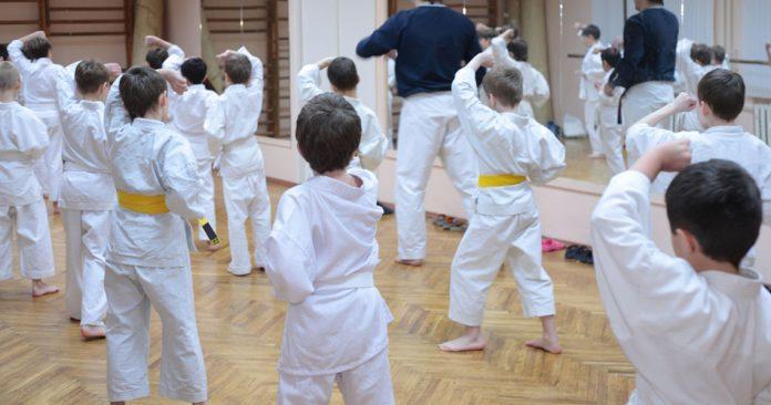 Kids martial arts class.