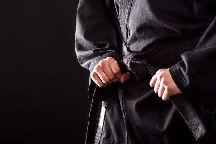 black belt tie