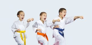 martial arts kids yelling